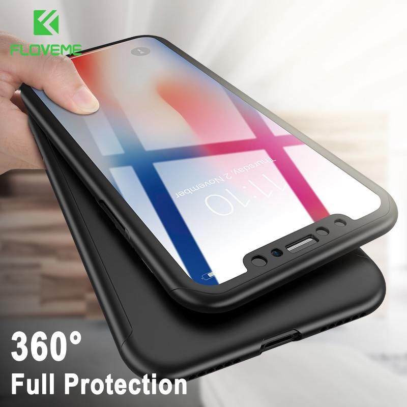 FLOVEME 360-градусный защитный чехол для телефона iPhone XR XS Max X защитный чехол для телефона iPhone 7 8 6 6s Plus 5 5s SE поставляется с закаленным стеклянным че...