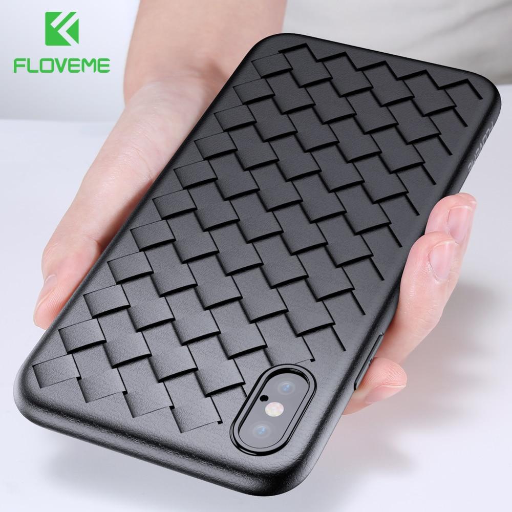 Floveme супер мягкий чехол на айфон 6 6s Plus Роскошный телефон чехол на айфон 7 8 сетка Ткачество силиконовый черный для айфон 6 6S 7 8 Plus X 10 чехол на ай...