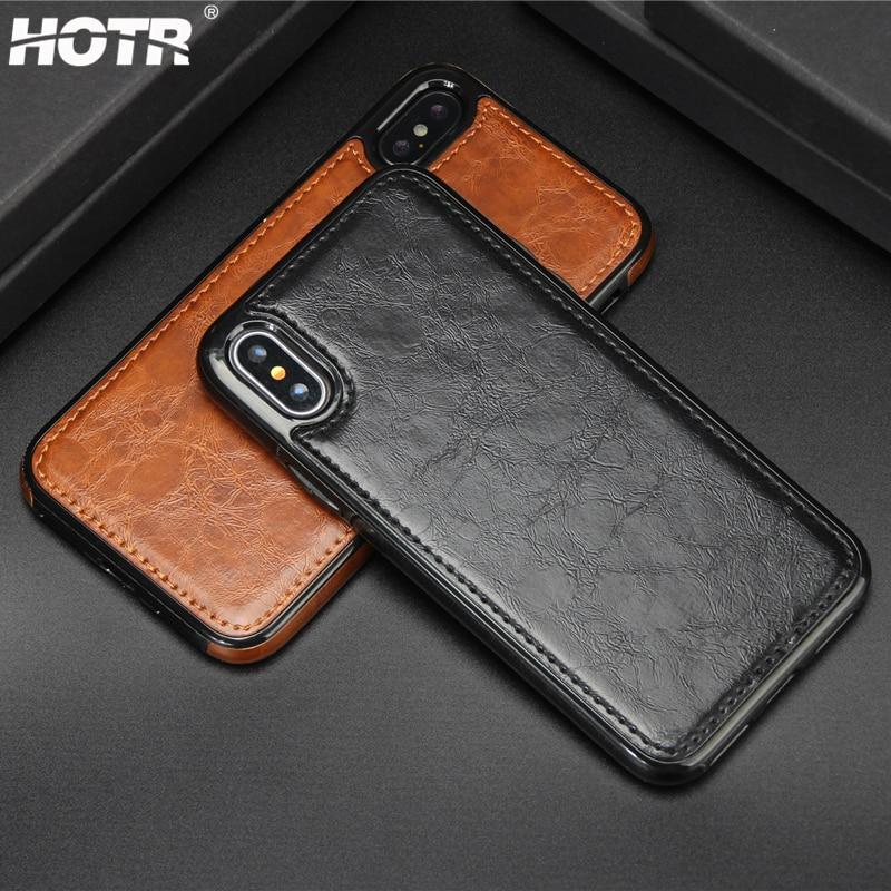 Hotr винтажный кожаный чехол для iphone X PU кожаный чехол Магнитная поглощающая задняя крышка для iphone 9 8 7 6 6 S Plus 5 XS XR XS Max