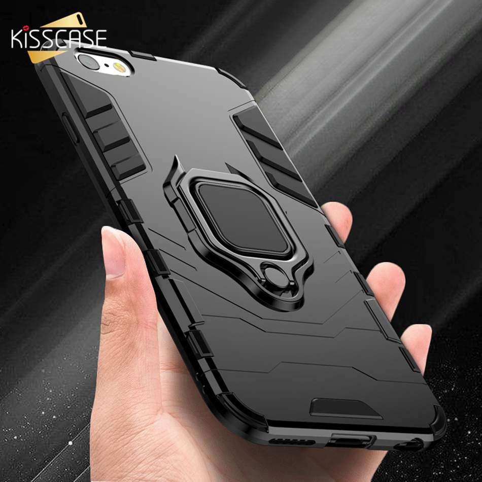 KISSCASE противоударный Броня телефона чехол на айфон 6 6 S 7 8 Plus XS телефон чехол на айфон X 5 5S Se XS Xs Max XR палец кольцо держатель телефона Обложка чех...