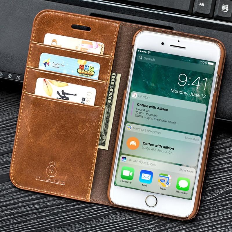 Musubo Натуральная кожа флип чехол для iPhone 7 плюс Роскошный кошелек Встроенная крышка для iPhone X Max 6 Plus 5 5S SE чехлы для телефонов чехол на айфон 8 пл...