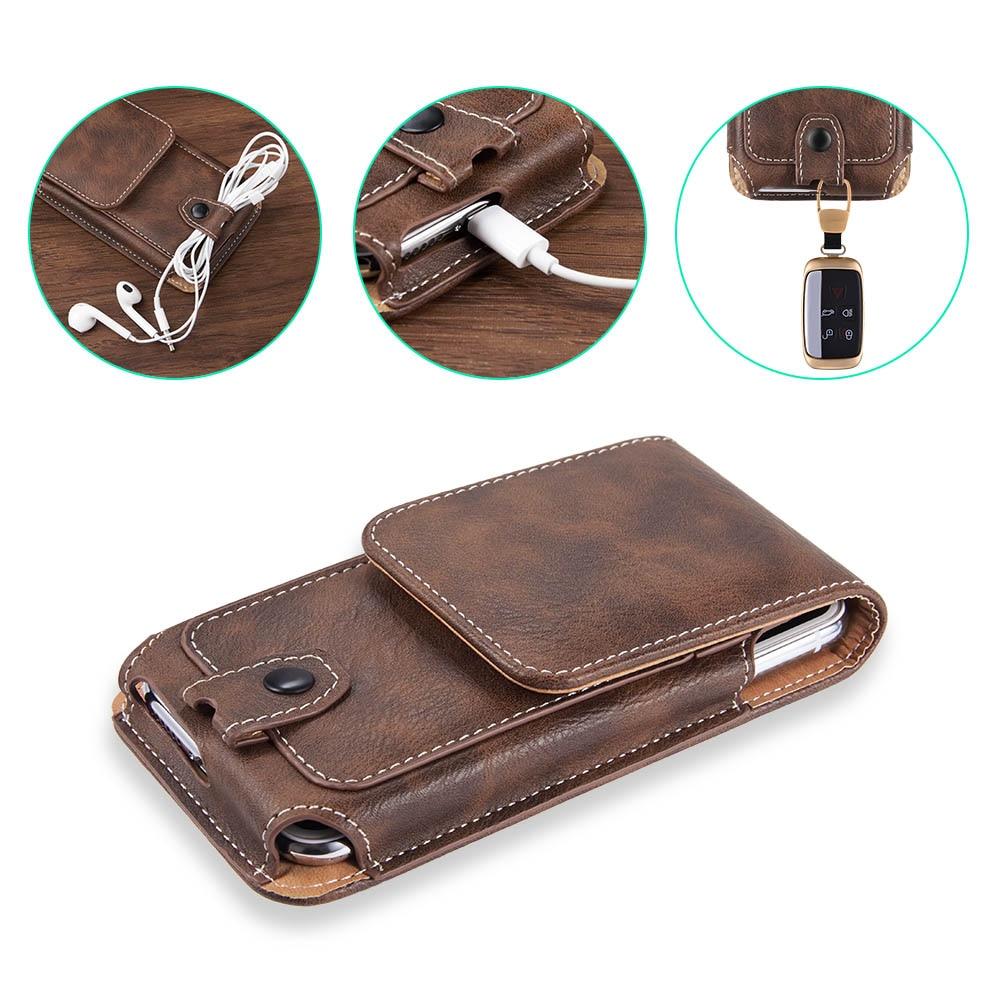 Универсальный чехол кожаный чехол для телефона iphone XS X 6 7 8 plus поясная сумка Магнитная кобура Зажим для ремня чехол для телефона redmi 5 plus