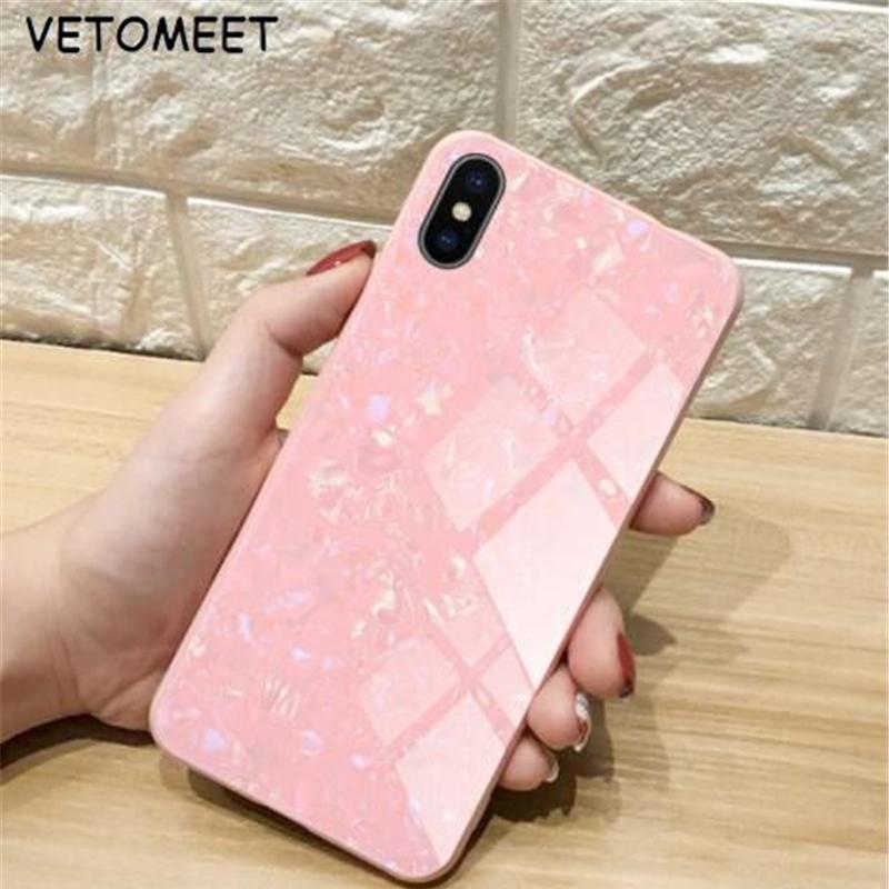 VETOMEET закаленное стекло чехол для iPhone X XR XS MAX Luxcry Мода задняя крышка Защитный в виде ракушки для iPhone 8 7 6 Plus
