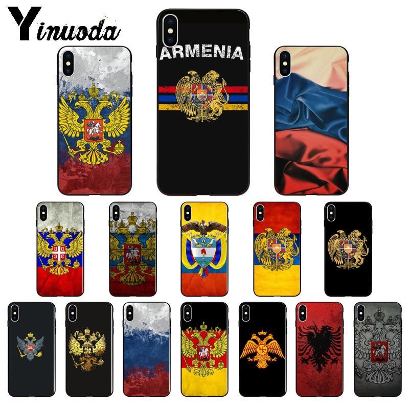 Yinuoda Армении Албании России эмблема флага ТПУ мягкий чехол для телефона для iPhone 8 7 6 6 S Plus 5 5S SE XR X XS MAX Coque Shell